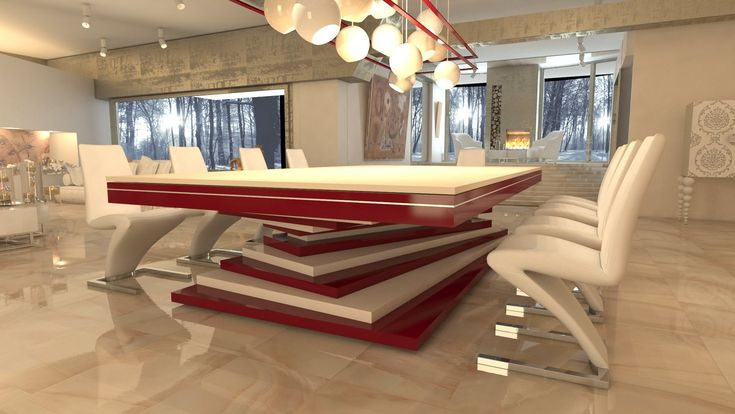 Dinner Billiard Table, Billiard Table, Pool Billiard, Tavolo Biliardo, Snooker, Billiard Room, Billiards -   Dinner table lacquered white and red
