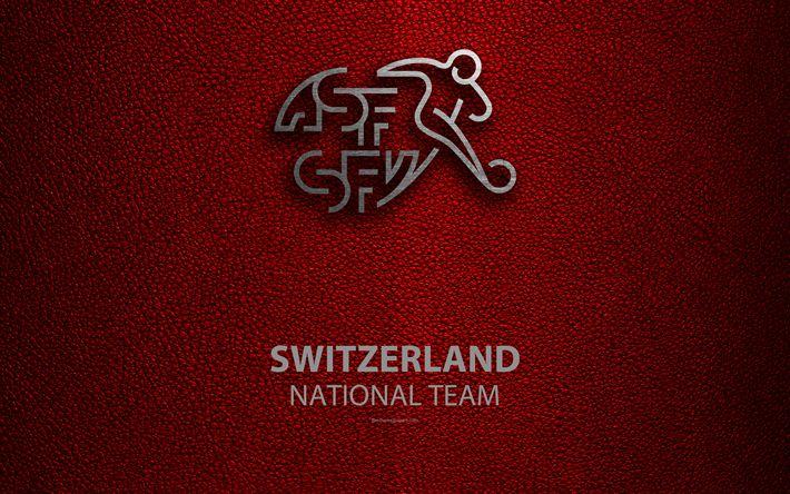 Download wallpapers Switzerland national football team, 4k, leather texture, emblem, logo, football, Switzerland