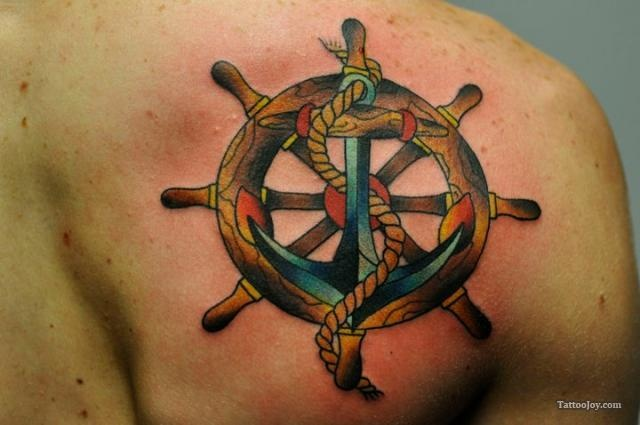 19 best tattoo traditional helm images on pinterest for Anchor and wheel tattoo