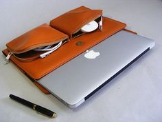 Brown Apple Macbook Pro Carrying Briefcase Case and for Pro with Retina Laptop in Full Grain Leather Apple slim Case