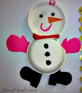 snowmen paper plate craft for kids