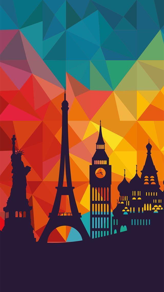 ↑↑TAP AND GET THE FREE APP! Art Creative City Travel Multicolor London Paris HD iPhone Wallpaper