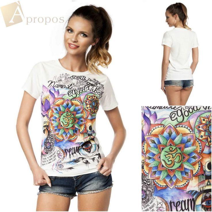 T- Shirt Top Weiß Geblümt Kurzarm Rundhals Baumwolle 36,38,40 Apropos