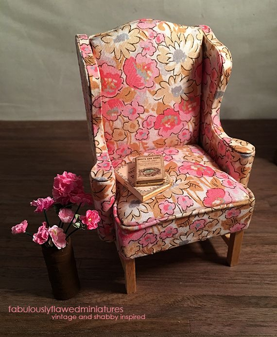 Miniature Dollhouse Wing Chairs By Fabulouslyflawedminiaturs