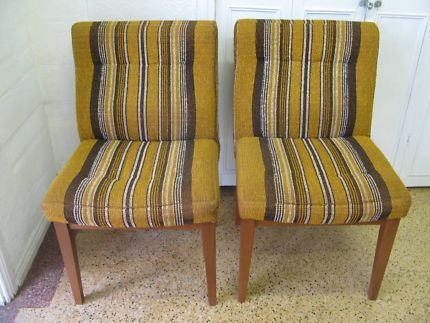 $70 RETRO 2x MUSTARD CHAIRS Timber Frame Pin Stripe Fabric 53x53x86cm Text 0411691171 or email info@bitspencer.com