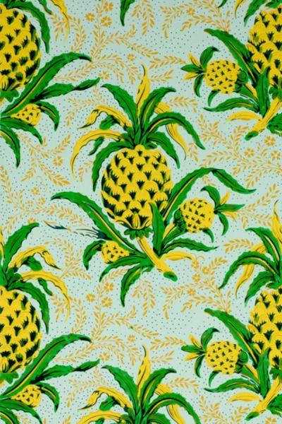 Pineapple Wall Paper #interiors #decor #hardware http://www.motherofpearl.com