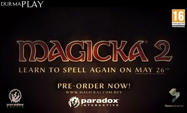 http://www.durmaplay.com/News/magicka-2-cikis-tarihi-belli-oldu   Arrowhead Game Studios tarafından Microsoft XNA oyun motoru üzerinde geliştirilen ve 2011 yılında İsveçli video oyun yayımlama şirketi Paradox Interactive tarafından da Windows ( NET) platformu üzerinde oyuncularla buluşturulan aksiyon-macera oyunu Magicka'nın devamı olan Magicka 2'nin çıkış tarihi belli oldu