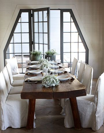 reclaimed long plank table. The white chairs might not last, but the white dishes and succulents through out the setting is a nice and manageable everyday look.: Dining Rooms, Window, Lakes Houses, Kitchens Tables, Rustic Tables, Wood Tables, Wooden Tables, Houses Tours, Dining Tables