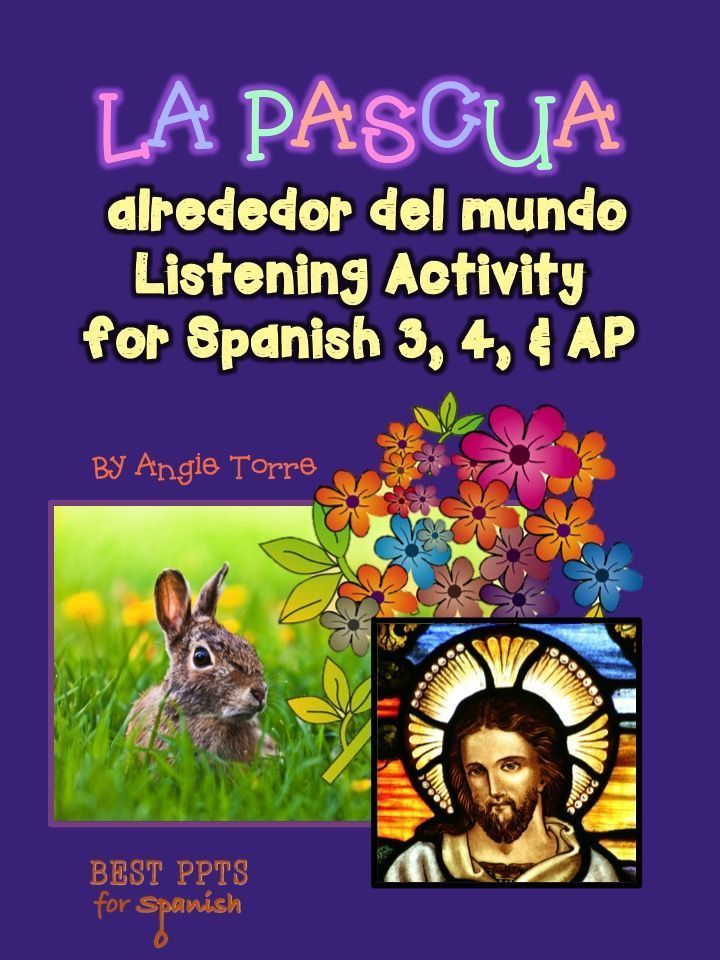 "La Pascual alrededor del mundo: Easter Traditions in Spanish-speaking Countries Listening Activity by Angie Torre  This activity includes the following:Vocabulary for the video; 9 comprehension questions; Answer;URL for the Youtube Video, ""La Pascua alrededor del mundo"" which talks about how Easter is celebrated in different countries around the world. It is 3:38 minutes long; URL for the script Learning Target Addressed: Culture in Spanish-speaking Countries"