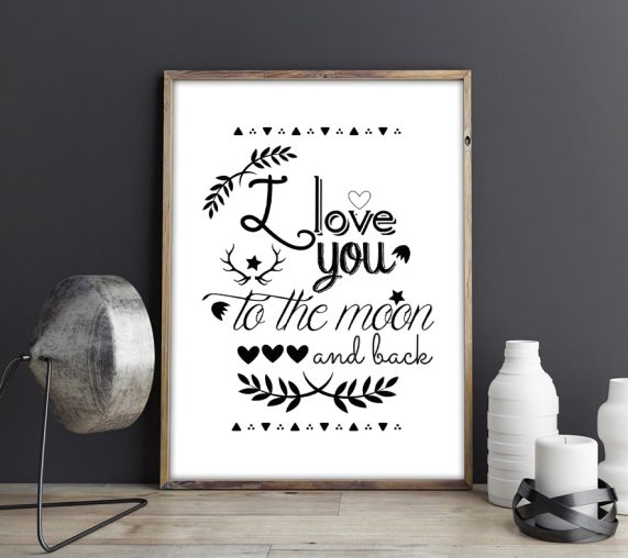 Affiche A4 I love you to the moon and back