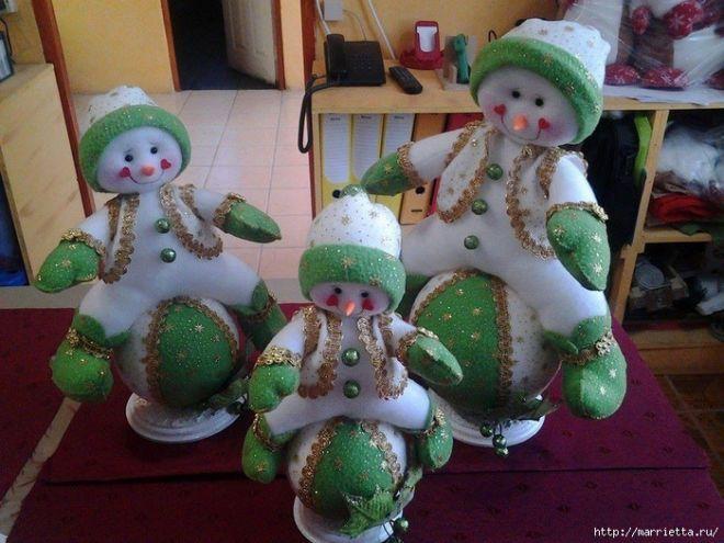 Новогодний снеговик на снежном шаре. Выкройка   кукла   Постила