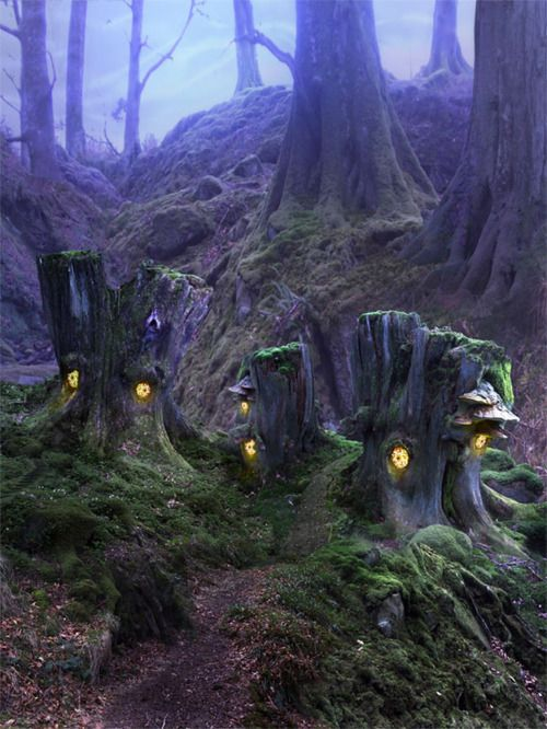 and the forest dreams eternally.......  Maybe use glow in the dark paint..?