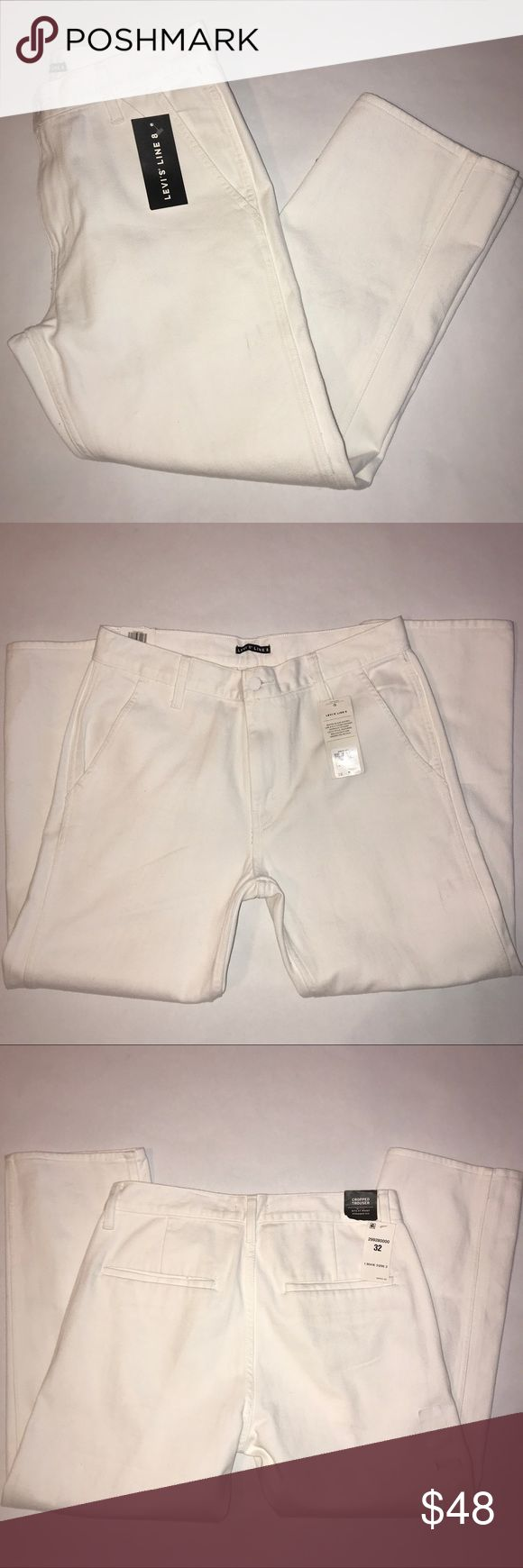 """Levi's Line 8 women's cropped trouser size 32 NWT Women's Levi's line 8 cropped trousers straight fit, color is white, size 32, 2 pockets on front, and 2 on the back, NWT, measurements inseam 26"""", and rise 11"""" Levi's Pants Ankle & Cropped"""