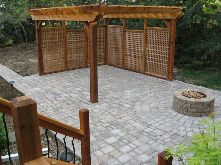 Semi Covered Patio With Fire Pit And Privacy Wall