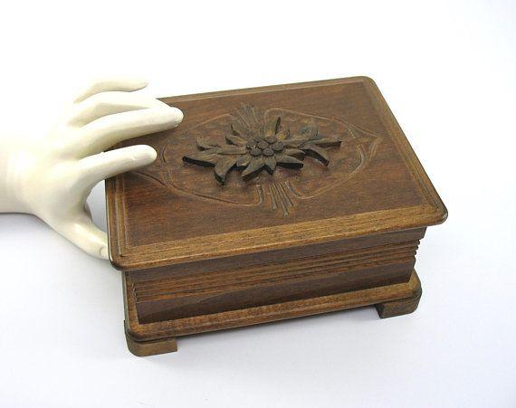 Vintage handmade wooden music box