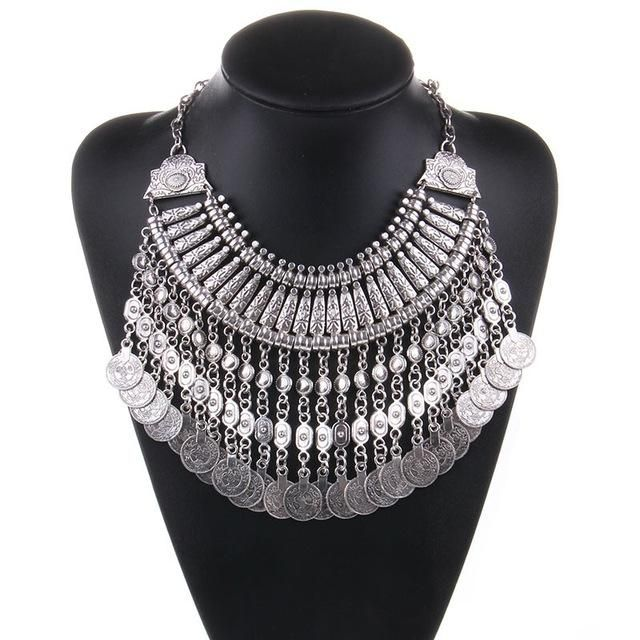 Bohemian Statement Necklaces Coins Silver Color NEW