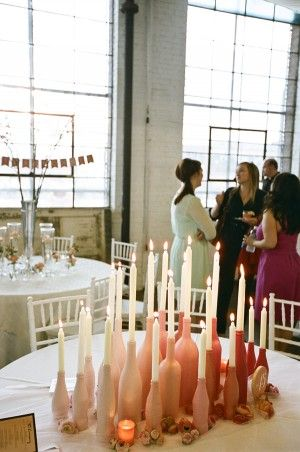 Painted glass bottles with candel sticks. The NotWedding Event