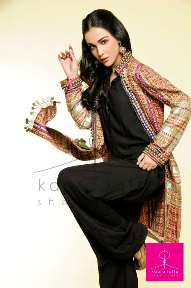 Chic Summer Collection by Kapra Latta. Black suit or suit pant with embroidered long jacket.