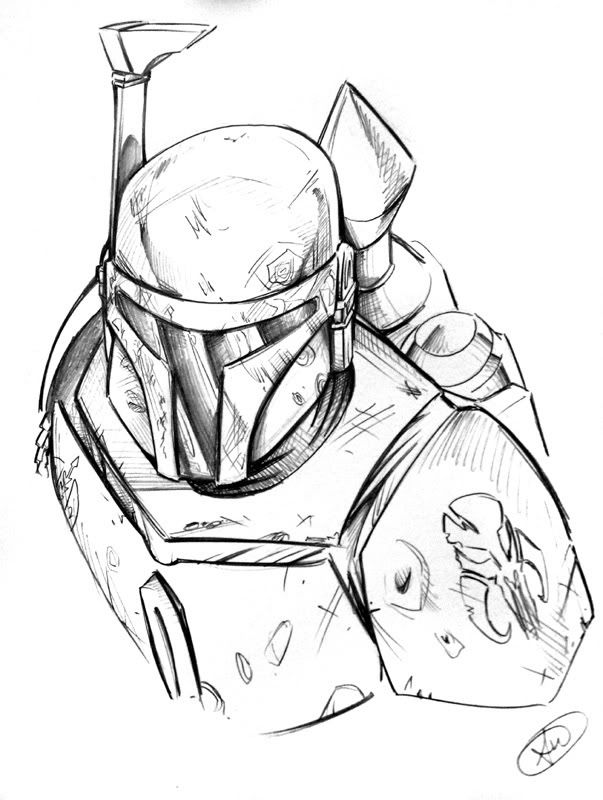 awesome pencil sketch of boba fett. artist unknown.  star