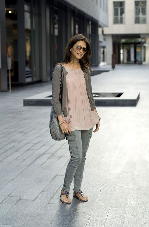 Nude and grey: street fashion in dubai