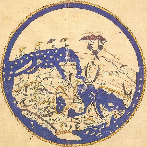 El mapa del geógrafo árabe Al-Idrisi incorporó los conocimientos que los comerciantes y exploradores árabes habían acumulado sobre África y el Océano Índico a los que ya tenían (heredados de los geógrafos clásicos), creando así uno de los mapas del mundo más exactos realizados hasta entonces. Nótese que el polo norte se encuentra la parte inferior del mapa.