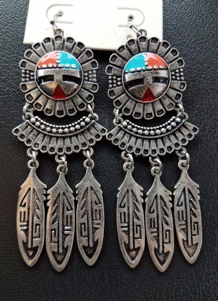 Cowgirl Gypsy silver tone KACHINA EARRINGS  Southwestern Rodeo western  #Unbranded #earrings