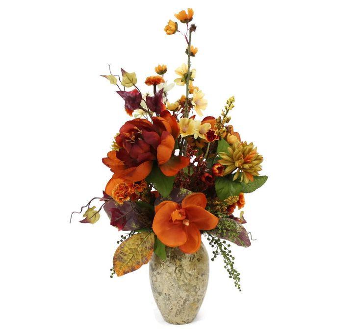 Silk Floral Arrangement, Home Décor, Faux Silk Flowers, Artificial Silk  Floral, Coral