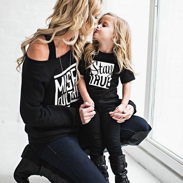 Matching mommy and daughter outfits! Black jeans, black shirts, black shoes, Little Misfits.