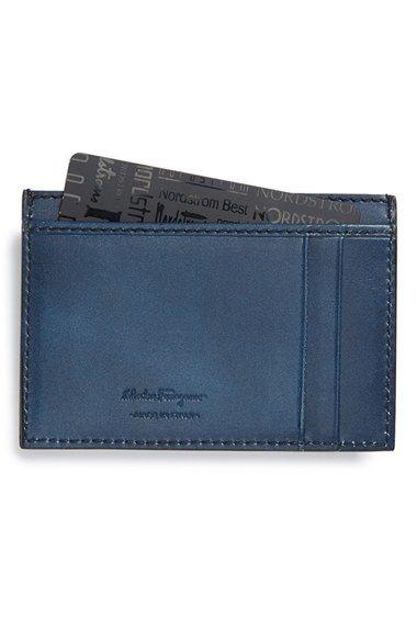 Men's Salvatore Ferragamo 'Nikos' Leather Card Case - Blue