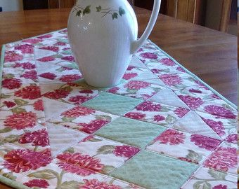 Quilted Table Runner Modern Christmas Table Runner size 16 x