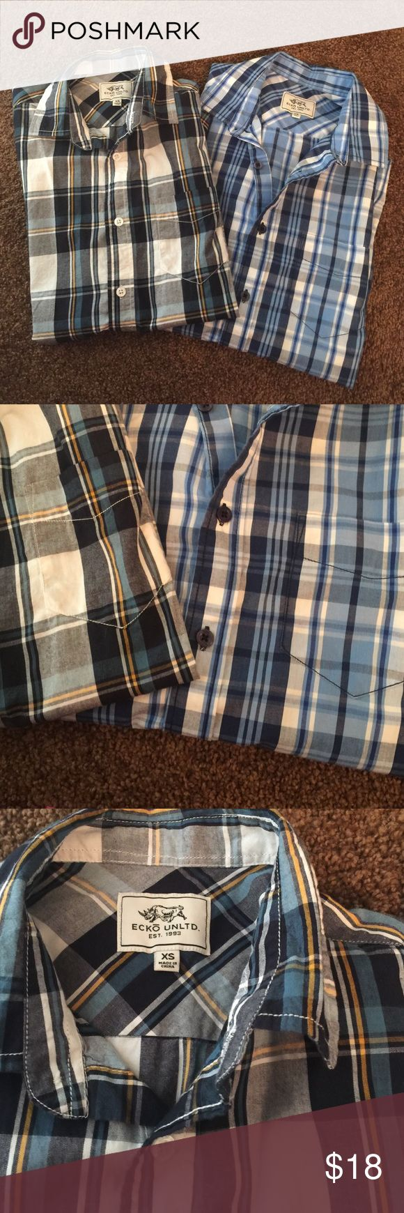 Echo Unltd. Mens plaid shirts Two for the price of one🔥🔥never worn! Short sleeve ... 2 for 18 🎉🎉🎉 Ecko Unlimited Shirts Casual Button Down Shirts