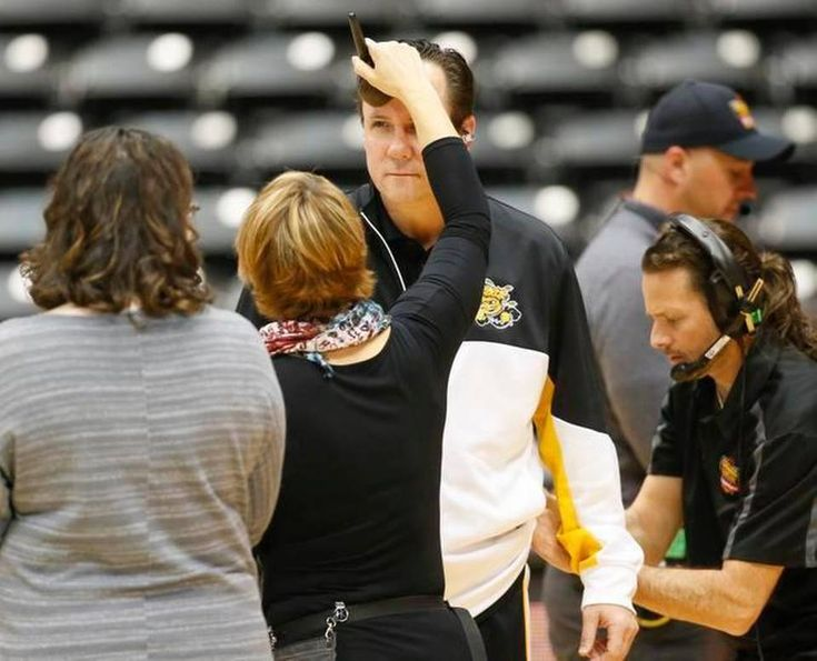 Wichita State coach Gregg Marshall has makeup applied before doing an interview with the crew from College Gameday.