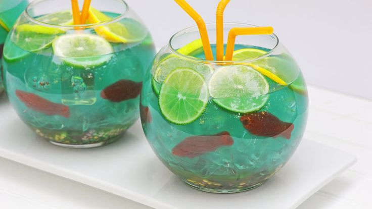 Swim (er, drink) with the fishes—Swedish fishes, that is,in this lively blue tropical punch drink.
