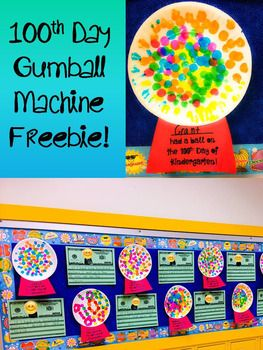 100th Day of School NO PREP Gumball Machine Template FREEBIE