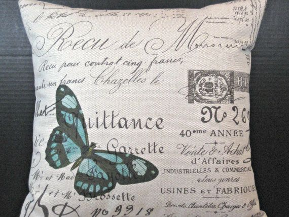 Decorative Pillow Aqua Blue Butterfly in Paris on French Script Fabric 9 best images Pinterest  script