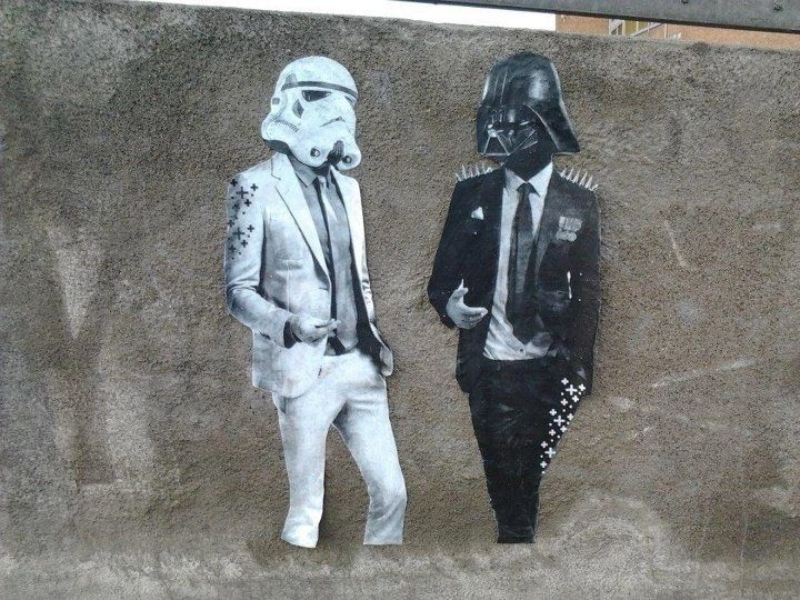 Hipster Vader and some clone he used to know- streetart in Stockholm