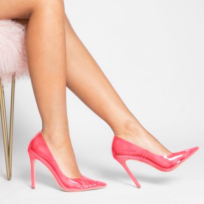 Nova Neon Pink Clear Stiletto Court