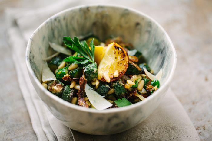 Zucchini Fritti Salad with Lemon, Parsley, Parmesan and Pine Nuts