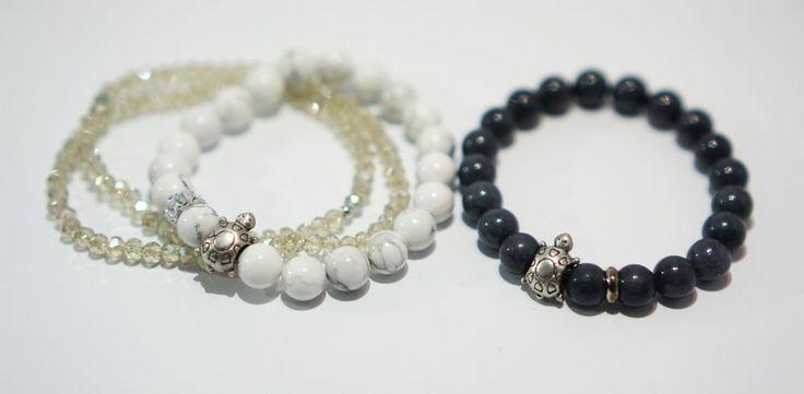[betulikeit] Handmade Couple Bracelet 2pcs turtle charm and gemstone beaded #Handmade #Beaded