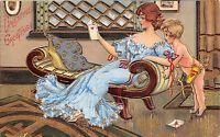 Valentine~Victorian Lady in Blue Lounges in Parlor~Cupid Over Shoulder~Gold Leaf