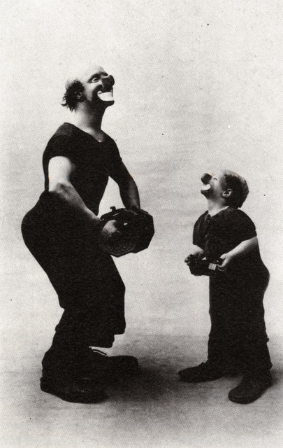 "Josep Andreu i Lasserre, aka Charlie Rivel, and son. Charlie Chaplin asked him, ""Is it you who imitates me or I who imitates you?"""