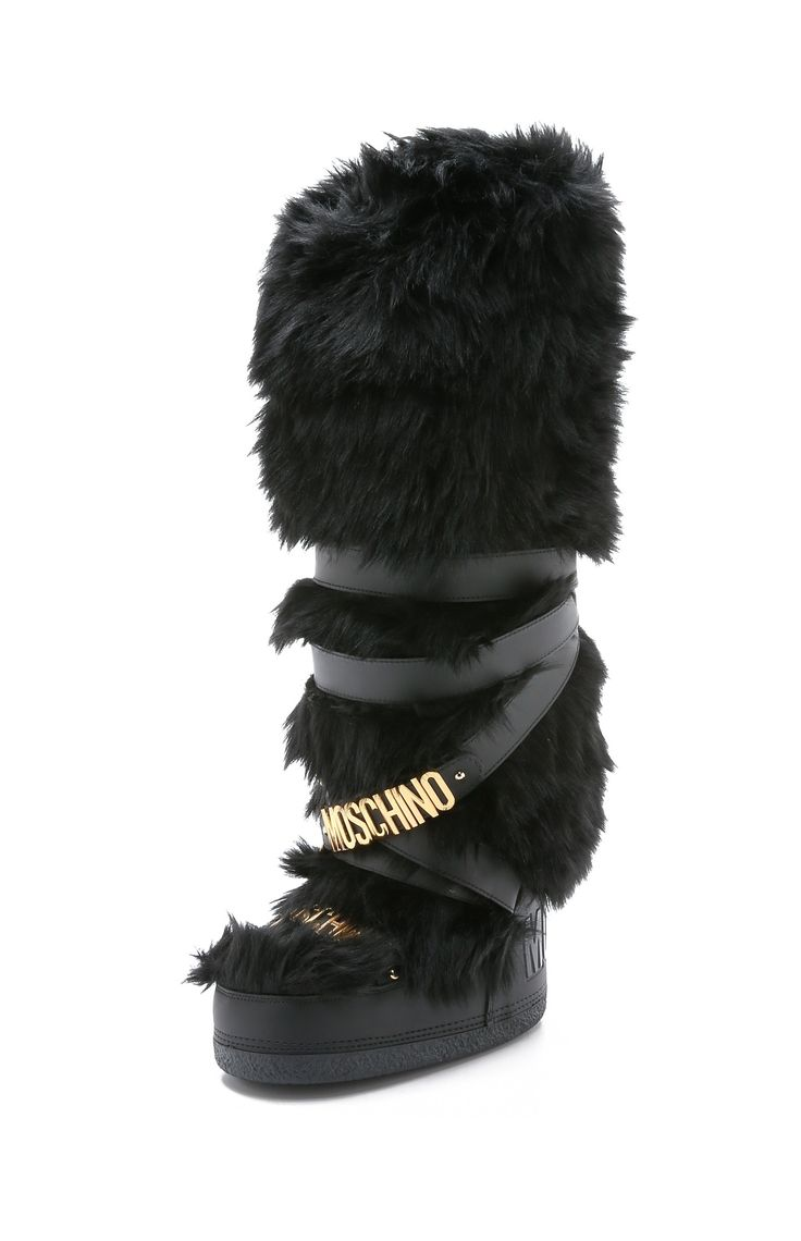 Moschino Snow Fox Fur <b>Knee High</b> Winter Shoes <b>Women's</b> Boots in ...