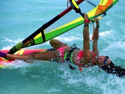 Windsurfing, Aruba, Caribbean.