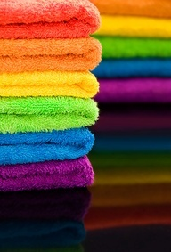 Rainbow towels. One colour for every family member / guests