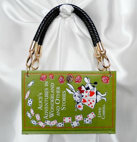 Alice in Wonderland by Lewis Carroll Book Cover Handbag  This rich coloured leather bound book is ready to be made into a stunning book handbag for