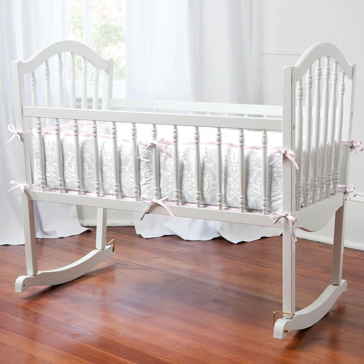 Pink and Gray Damask Cradle Bedding for Girls by Carousel Designs.