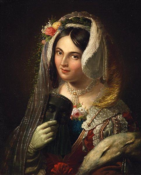 Portrait d'une jeune Vénitienne de Wilhelm Kleinenbroich  (1814 Köln - 1895 Köln)