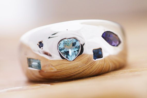 Wide Ring  Iolites  Aquamarines & Sapphires by PetrosJewels