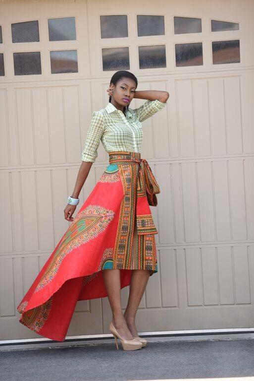 Holiday Quick ship Sale African Print Skirt Red Dashiki by RAHYMA