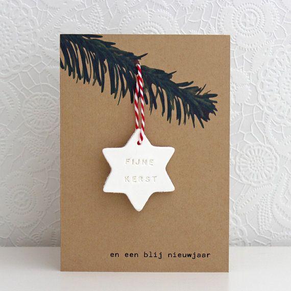 Kerstkaart met dennentak en ster van van LeLapinBlancNL op Etsy, €1.95